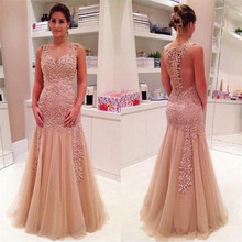 New Long Tulle Prom Dress with Lace Applqiues V-Neck Illsuon Back Customized For