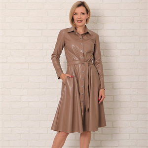 Winter Casual Sashes Pu Leather A-Line Dresses Women Turn-down Collar Long Sleeve Solid Color Knee Dress Office Lady Wear