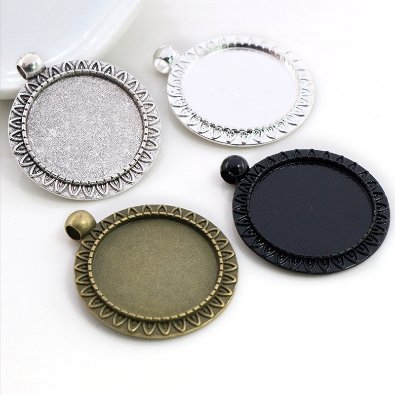 New Fashion 5pcs 25mm Inner Size Antique Silver Plated Bronze Black 4 Colors Flower Style Cabochon Base Setting Charms Pendant