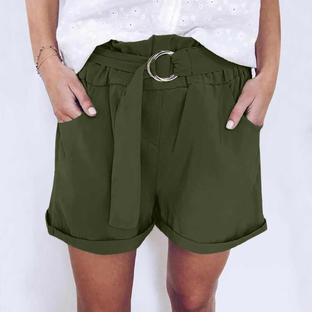 Plus Size Women Shorts Causul Pocket High Waist Shorts Blet Bottom Harajuku Solid Clothing Feminine Summer Shorts Women 2021