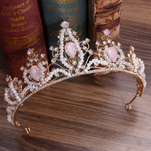 Pearl Headband Baroque Crystal Crown Tiara Bridal Crowns Wedding Rhinestone Hair Jewelry Headpiece Pink Diadem for Girls недорого
