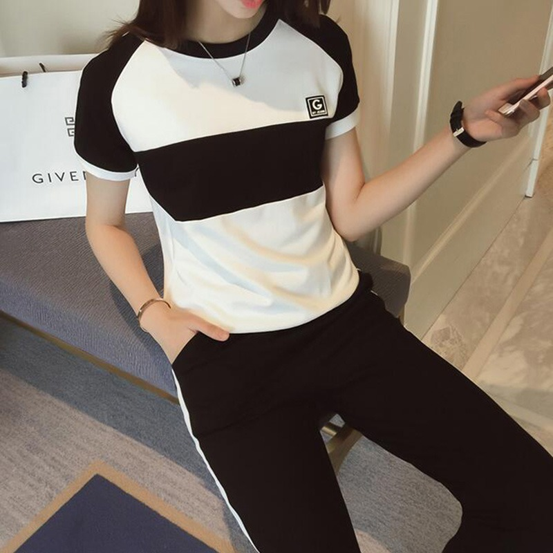 2 Pcs/Set Summer Tracksuit Women Fashion Patchwork Short Sleeve T-Shirt+Side Stripe Long Pants Leisure Women's Set