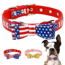 Adjustable  Dog Collar Creative Cute Pet leash Cat Bowknot America Soft Puppy Star Striped Necklace D40