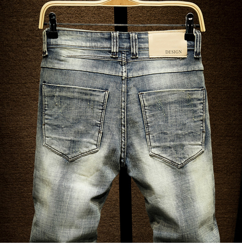 KSTUN Biker Jeans Men's Distressed Stretch Ripped Biker Jeans Men Hip Hop Slim Fit Patchwork Vintage Man Punk Denim Jeans Cotton Pants 14