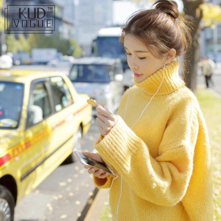 Warm Jumper Yellow Sweater Turtleneck Full Sleeve Regular Knitting Pullover Warm Solid Standard Winter Women Fashion 2018 Casual