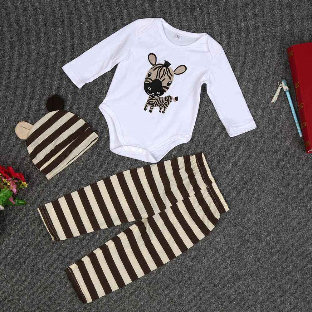 Newborn Baby Boys Girls Clothing Hat Romper Pants Trousers Outfit 3pcs Set