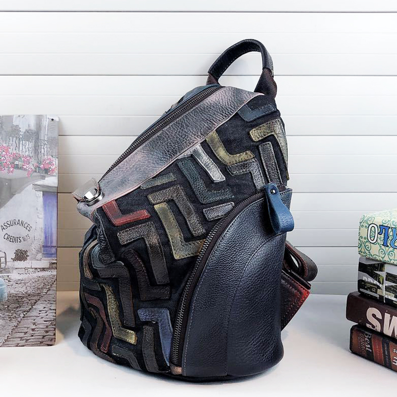 Ultimate SaleVintage Backpack Knapsack Daily Patchwork Anti-Theft Women Female Chic Retro Natural