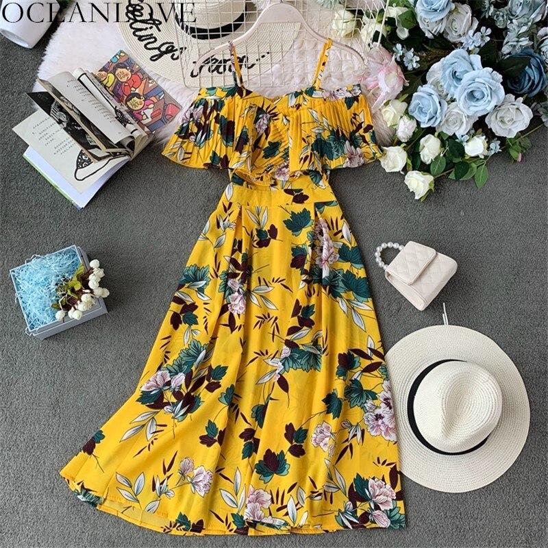 OCEANLOVE 2020 Summer Bohemian Print Dress Women A-line Ruffles Vestidos High Waist Slash Neck Dresses Sexy Robe Femme 12092
