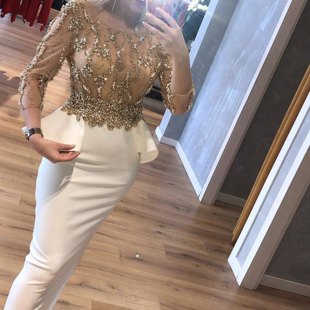 White Prom Dresses 2020 Crew Neckline Sheath Back Slit Evening Dresses Long Sexy Long Sleeve Beaded Formal Dresses