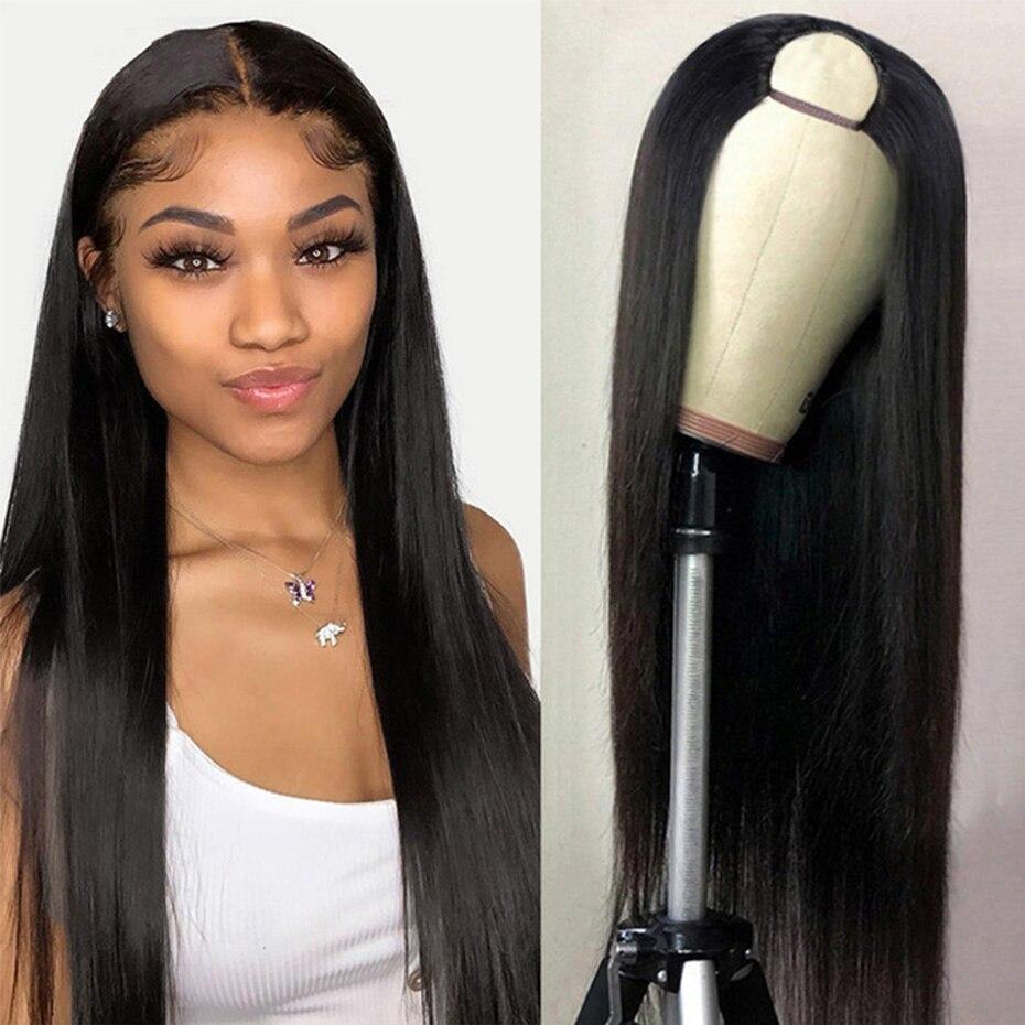 U parte peruca do cabelo humano 150% perucas retas brasileiras glueless do cabelo humano para as mulheres 8-26 Polegada médio u forma perucas cor natural