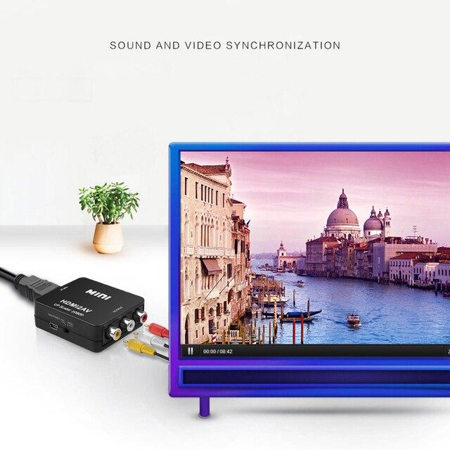 Kebidu HDMI-compatible to RCA Converter AV/CVSB L/R Video Box HD 1080P 1920*1080 60Hz HDMI2AV Support NTSC PAL Output HDMIToAV 5