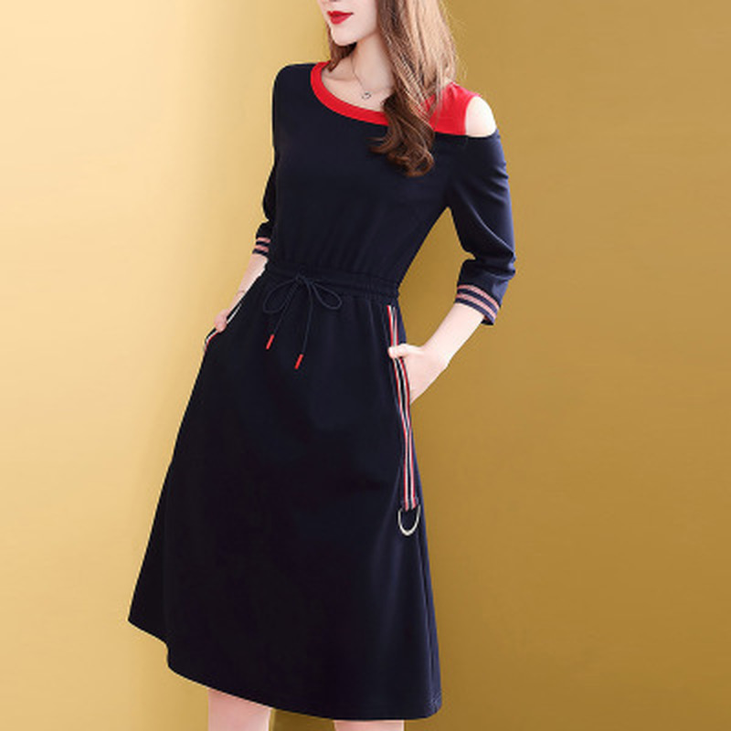 Hc5a8d8e34f384416adfb49e207abe3733 - Fashion New Drawstring Dress Women Elegant Slim Three Quarter Sleeve Casual Dress Korean Style A-Line Female Knee-Length Dress