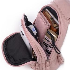 Image 5 - 新しい刺繍蘭女性バックパックカジュアル 3 で 1 バックパック十代の少女ソフト洗浄puレザー胸のための女性嚢