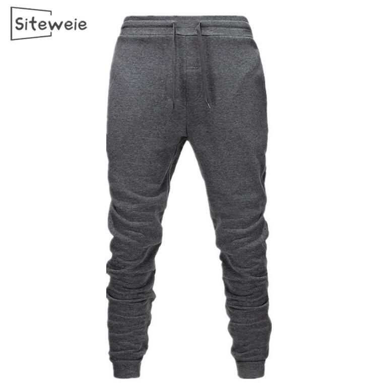 Siteweie moletom masculino casual algodão esportes joggers calças corpo construtor bottoms calças moda quente fitness gym calças l251