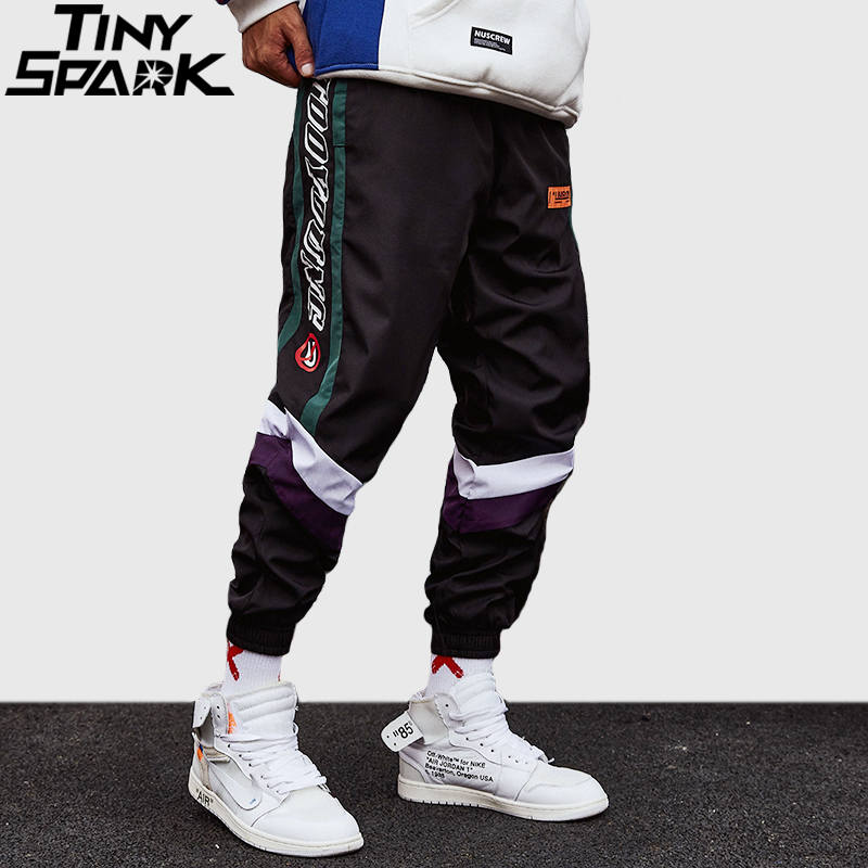 Harajuku Pant Joggers Retro Color Block Patchwork Hip Hip Harem Pant Streetwear Thin Sweatpant Trousers 2018 Track Pant Autumn