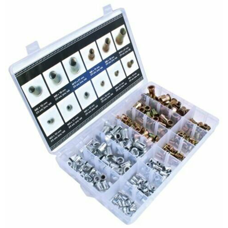 300pcs M3 M4 M5 M6 M8 M10 Zinc Plated Nuts Rivet Flat Head Threaded Rivet Insert Reveting Nutsert Cap Rivet Nuts