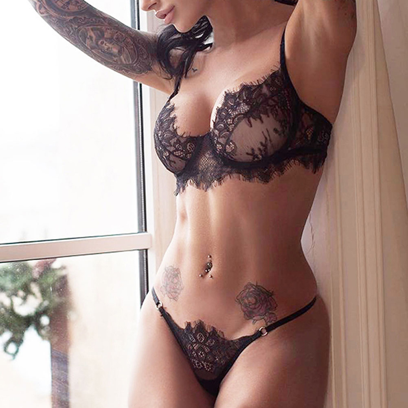 <font><b>Sexy</b></font> <font><b>Bra</b></font> <font><b>Set</b></font> Lace Transparent Underwear <font><b>Set</b></font> <font><b>Women</b></font> <font><b>Sexy</b></font> Lengerie Hot Erotic Push Up Wire Free Bralette Seamless G string Panties image