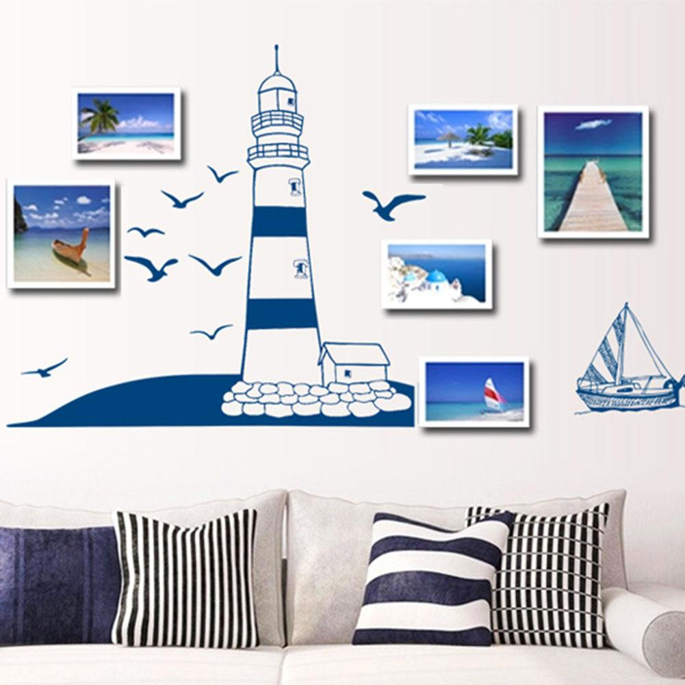 Navy Blue PVC Modern stylish Tower Sailboat Gull Pattern Removable Wall Sticker Decal Background Home Decor