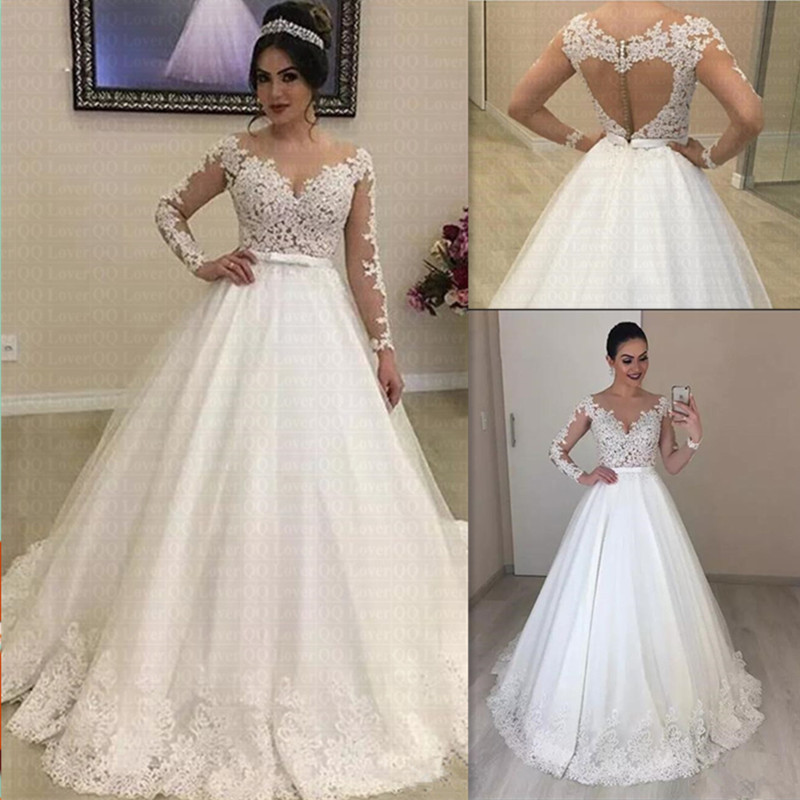 Appliques Long Sleeves Vestido De Noiva Amazing Open Back Lace Wedding Dress 2020 Bow Wedding Gown Bridal Dress