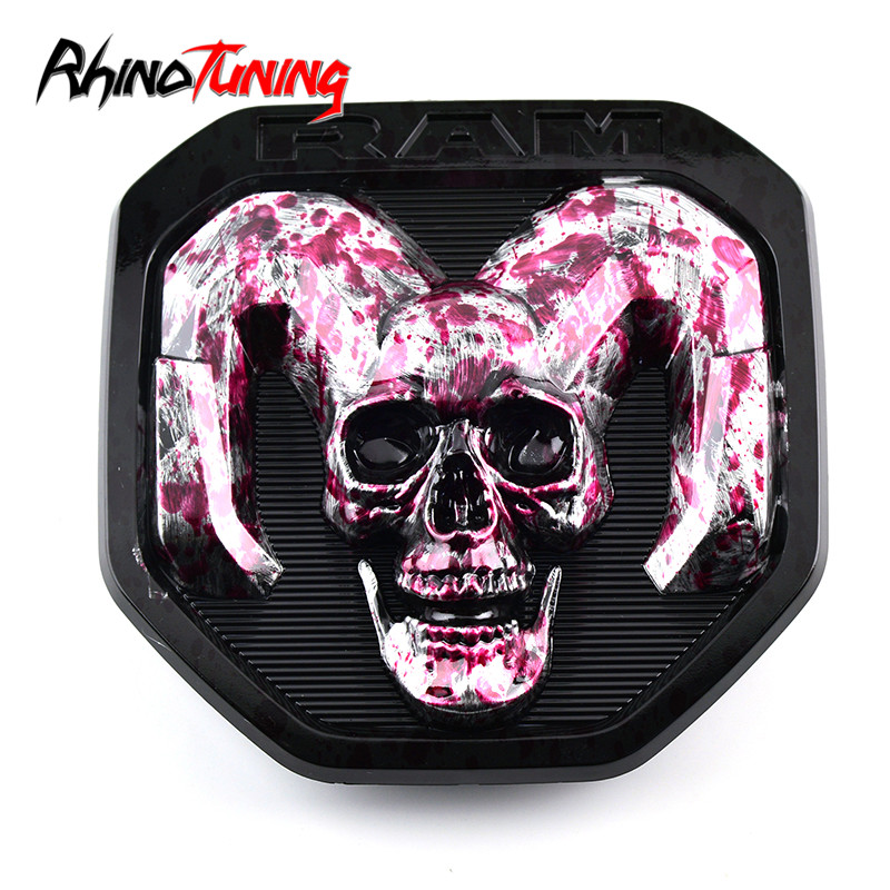 1pc 176mm For RAM Car Tail Skull Sticker Logo  Pink Auto Badge Emblem Covers ABS 2000-2018 1500 2500 3500