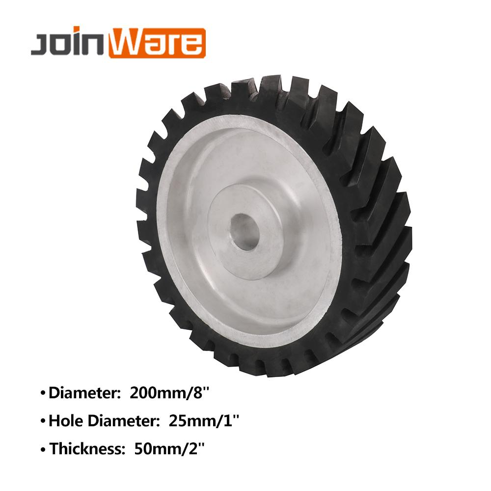 200*50mm Serrated Belt Grinder Contact Wheel Rubber Wheel For Abrasive Sanding Belt 1Pc