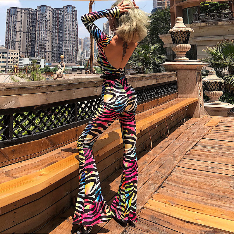 Rainbow Zebra Print Backless Flare Long Pants Jumpsuit Summer Women Party Sexy Club Streetwear Female Clothing