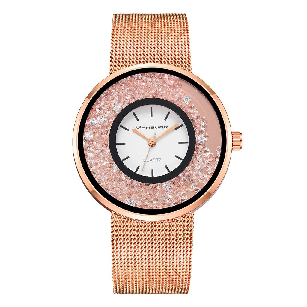 Moda quente de Aço Inoxidável Rosa de Ouro & Prata Luxo Mulheres Rhinestone Relógios de Quartzo Relógio de Pulso Wtach BW1900