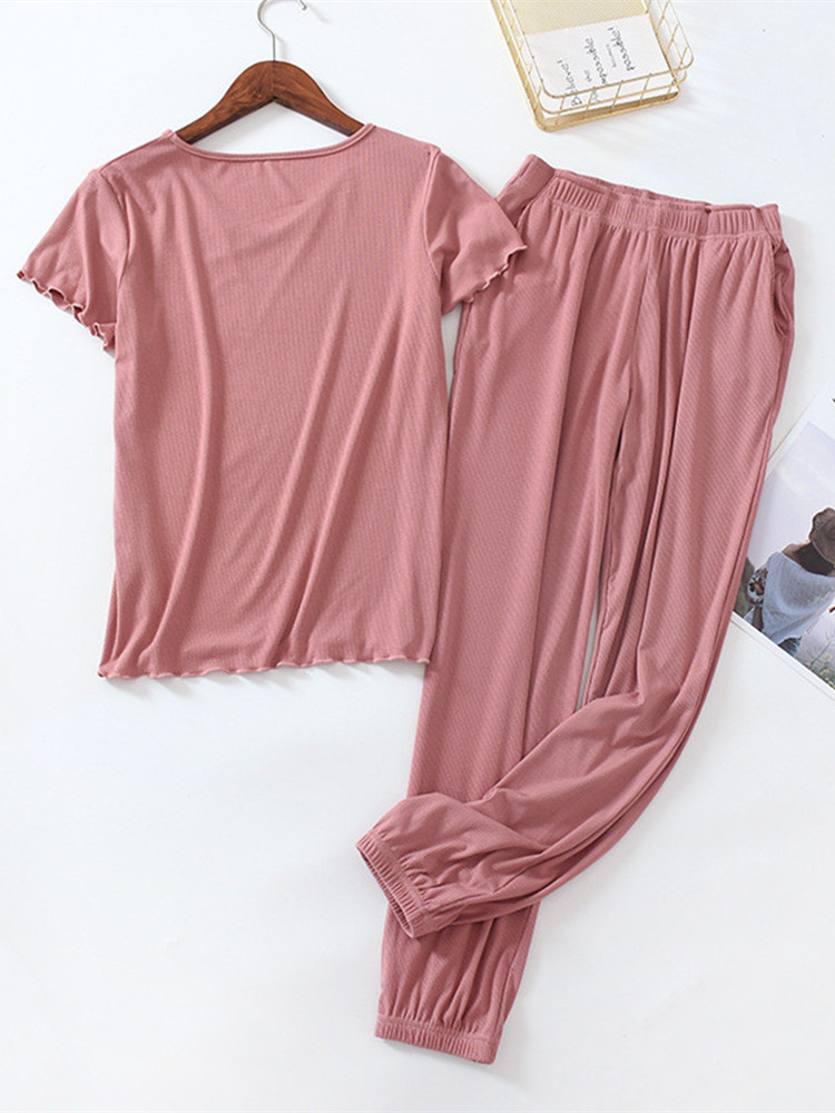 Home Sleepwear Pajamas Modal Plus-Size Summer Women Ladies Casual Gray Loose