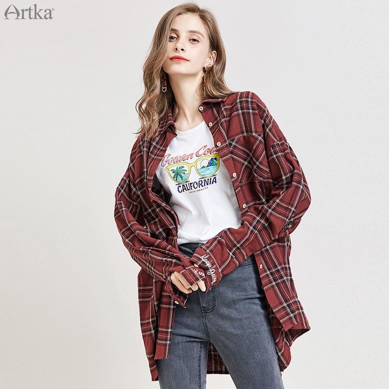 ARTKA 2019 automne nouveau femmes Blouses longue lâche décontracté rouge Plaid col rabattu chemise à manches longues Blouses pour femmes SA15096Q