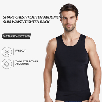Men Bustier Corset Slimming Tummy Body Shaper Fat Burning Vest Belly Waist Girdle Shirt Shapewear Underwear Shirts