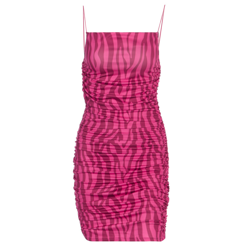 Neon Pink Zebra Print Sexy Club Dress Kendall Jenner Spaghetti Strap Mini Dresses Summer Bodycon Bandage Dress - kendall-jenner-outfits