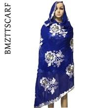 Новинка ариканские женские шарфы, Африканский мусульманский женский шарф с вышивкой, многофункциональные шарф-шали wrpas, большой хлопковый шарф