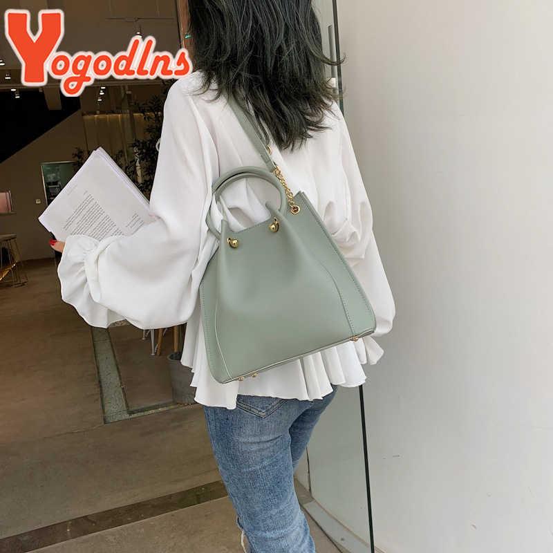 Yogodlns Fashion Wanita Tas Tangan Kapasitas Besar Top-Handle PU Tas Crossbody Kasual Messenger Tas Bahu Wanita