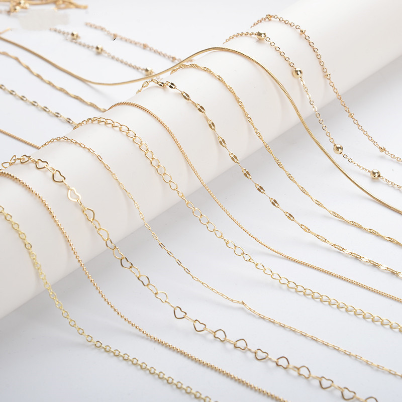 14k gold plated jewelry accessories copper chains 100cm making DIY chain necklace FPPJ