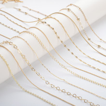 14k gold plated jewelry accessories copper chains 100cm maki