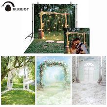 Allenjoyการถ่ายภาพฉากหลังRusticงานแต่งงานGlitterไม้Archดอกไม้ป่าภาพพื้นหลังPhotocall Photophoneยิง