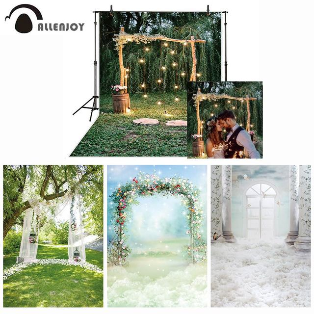 خلفية للتصوير من Allenjoy خلفية زفاف ريفية لامعة وقوس خشبي وخلفية غابة وورود للتصوير بالاستوديو للتصوير الفوتوغرافي