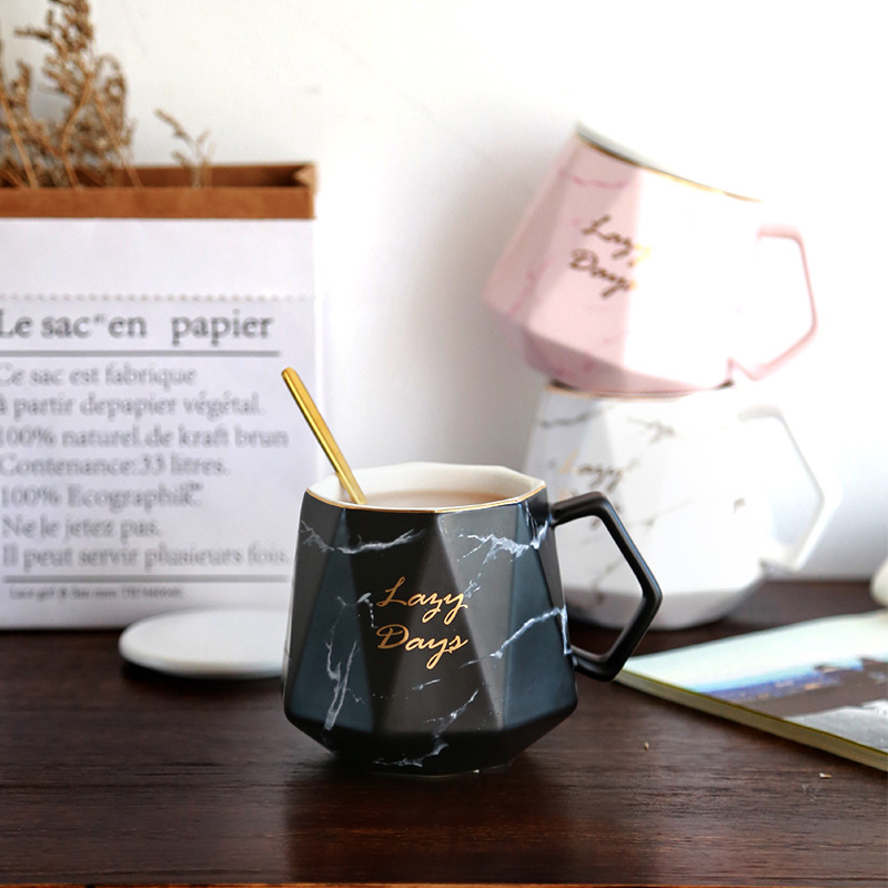 Creative  Marble Glazes Ceramic Mug Porcelain Rhombus Shaped Drinking Tea Mugs Breakfast Office Water Coffee Cups for Men Women