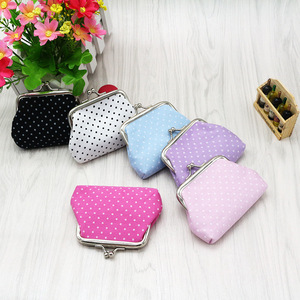 1PC Coin Purses Lady Small Wallet For Women Dot Pattern Mini Hasp Coin Purses Money Change Pouch Cotton Fabric Carteira Feminina
