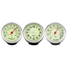 1pc Mini Car Watch Digital Pointer Luminous Clock Mechanics Quartz Automobile Thermometer Hygrometer Styling