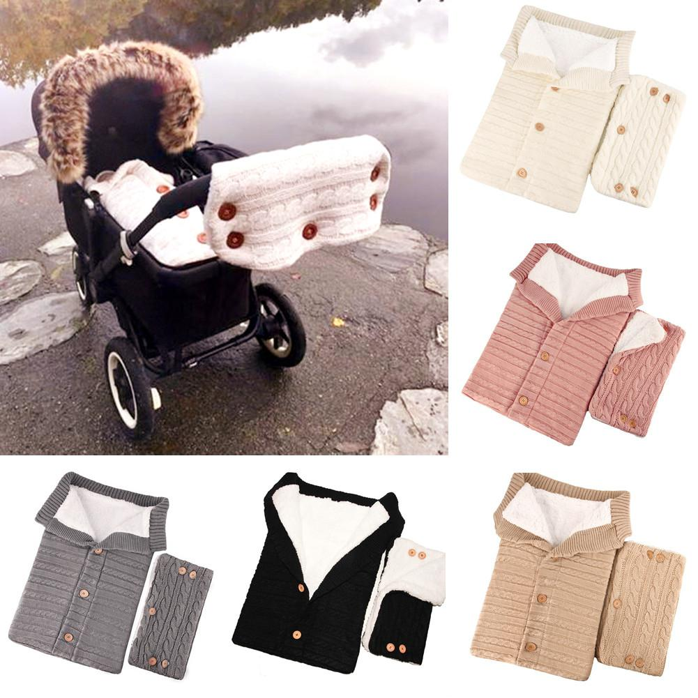 Kidlove 2PCS/Set Baby Knitted Button Thickened Sleeping Bag Gloves For Stroller Outdoor