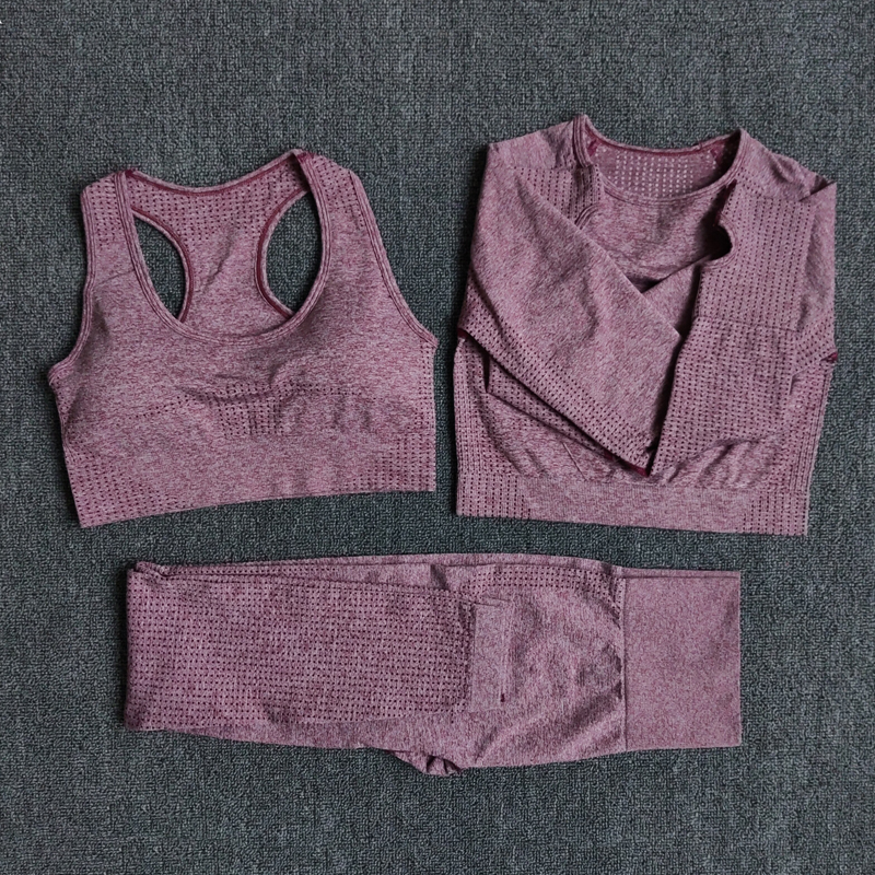 Mujeres Vital Seamless manga larga Yoga Set Fitness interior y al aire libre deportes trajes gimnasio ropa Crop Top alta cintura Running Leggings