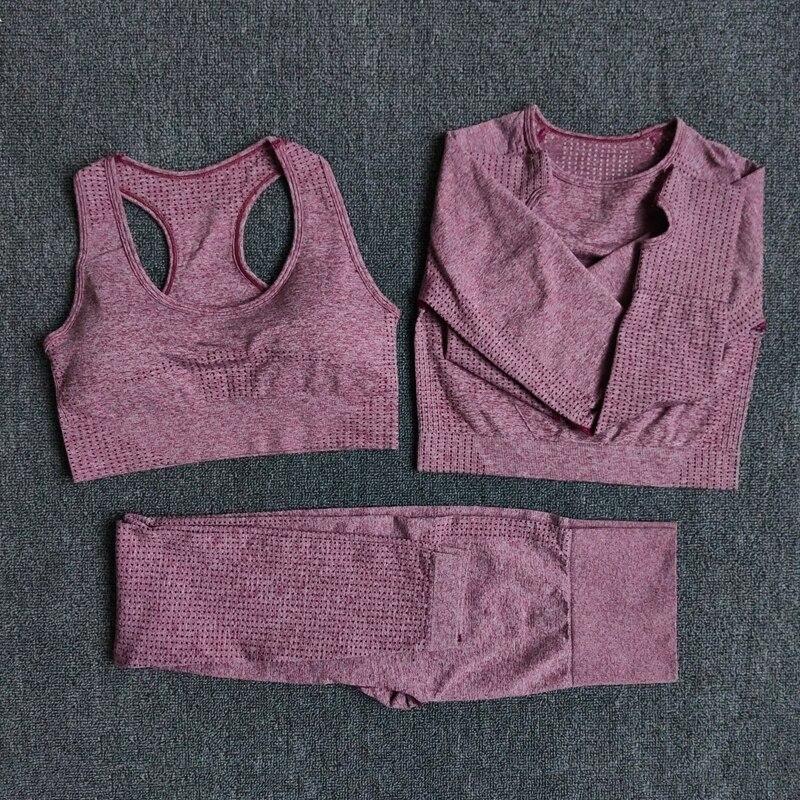 Women Vital Seamless Long Sleeve Yoga Set Fitness Indoor&Outdoor Sports Suits Gym Clothing Crop Top High Waist Running Leggings