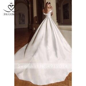 Image 2 - Swanskirt Vintage Áo Cưới Năm 2020 Thời Trang Cổ Thuyền Lệch Vai Chữ A Pha Lê Satin Công Chúa Cô Dâu Đầm Vestido De Novia GY24