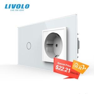 Image 1 - Livolo euの標準タッチスイッチ、クリスタルガラスパネル、ac 220 〜 250v 16A壁ソケットプラグ光スイッチ