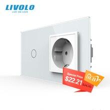 Livolo padrão da ue interruptor de toque, painel vidro cristal, ac 220 plug 250v 16a tomada de parede com interruptor de luz