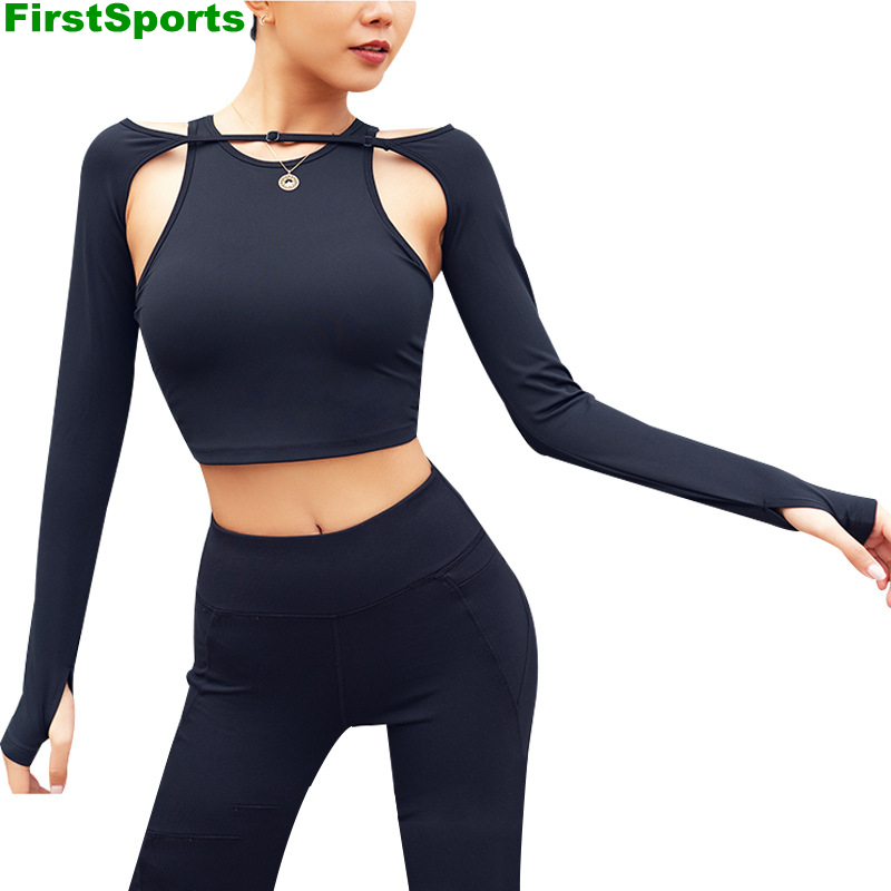 Nuevas camisetas deportivas de Yoga para mujer, camisetas ajustadas de manga larga para gimnasio corto con acolchado para correr, Fitness, entrenamiento, camisetas, ropa deportiva