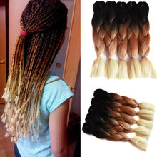 "Full Star Ombre braiding hair Extensions 1Pack 24"" Jumbo braids Black Brown Blond Crochet braids Synthetic Hair for African(China)"