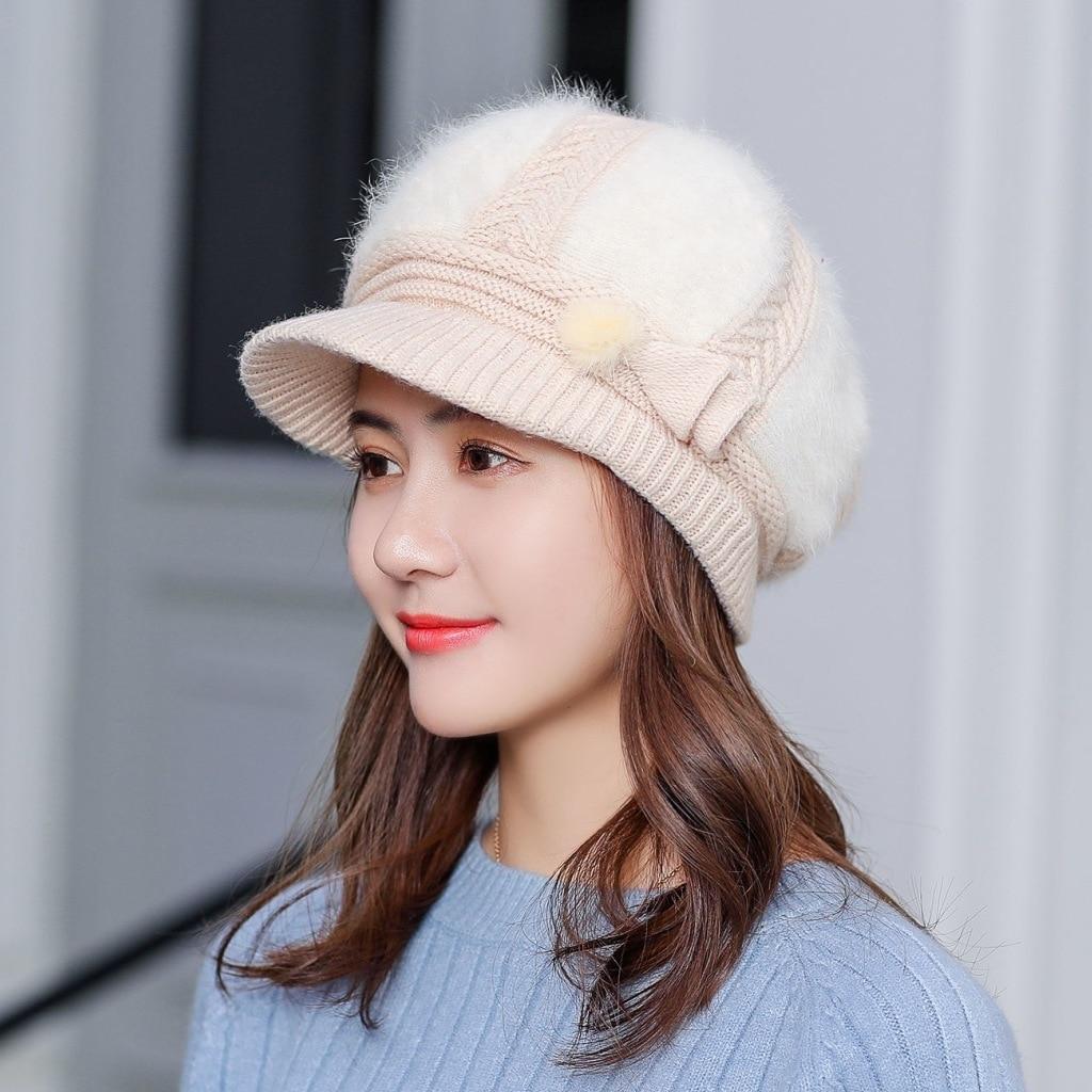 Winter Women Rrabbit Knitted Hats Fur Ball Cap Winter Hat Girl Skullies Beanies Brand New Warm Thick Female Adjustable Cap