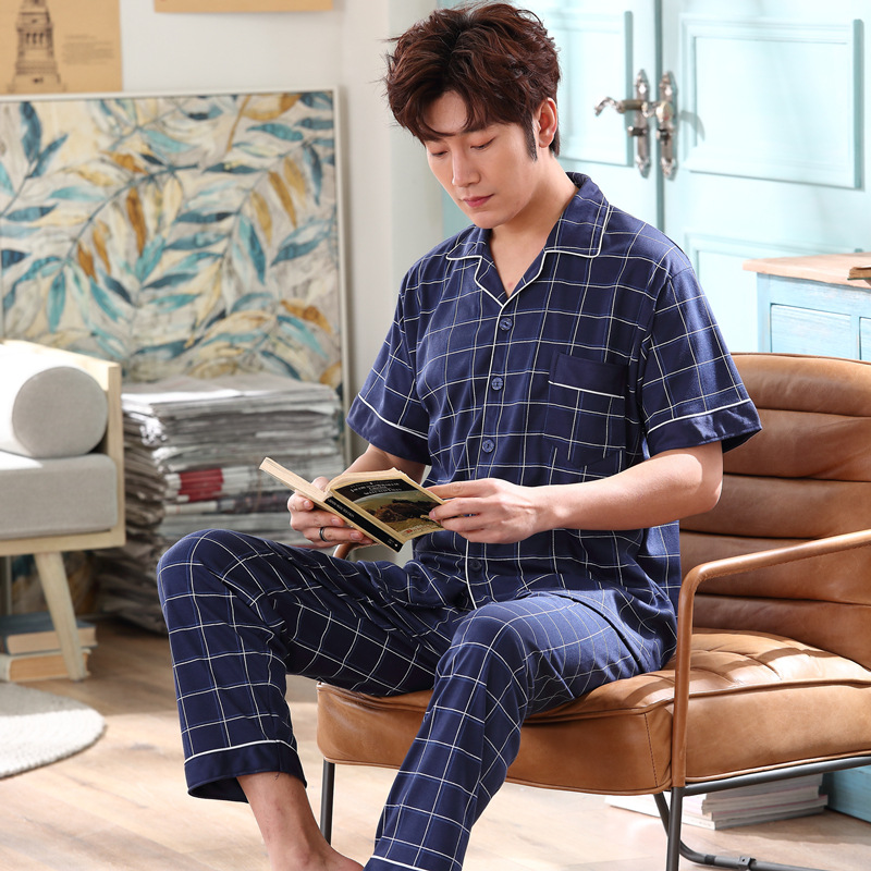Korean-style Youth Summer Thin Men Pajamas Summer Pure Cotton Short Sleeve Tracksuit Loose And Plus-sized Set 2616